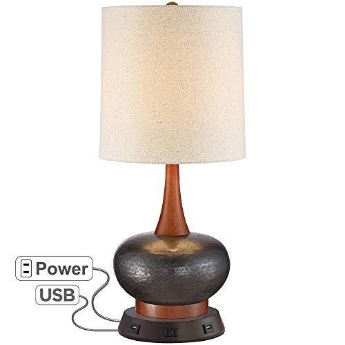 Andi Mid Century Modern Table Lamp with USB and AC Power Outlet Workstation Charging Base Brown Hammered Ceramic Wood Off White Fabric Cylinder Shade for Living Room – 360 Lighting
