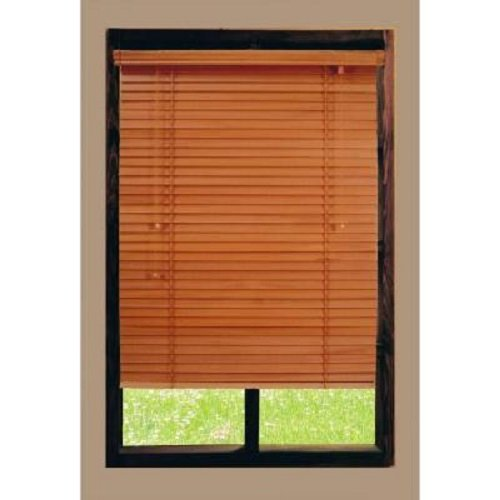 Golden Oak 2 in. Basswood Blind, 64 in. Length x 71.5 in. Width
