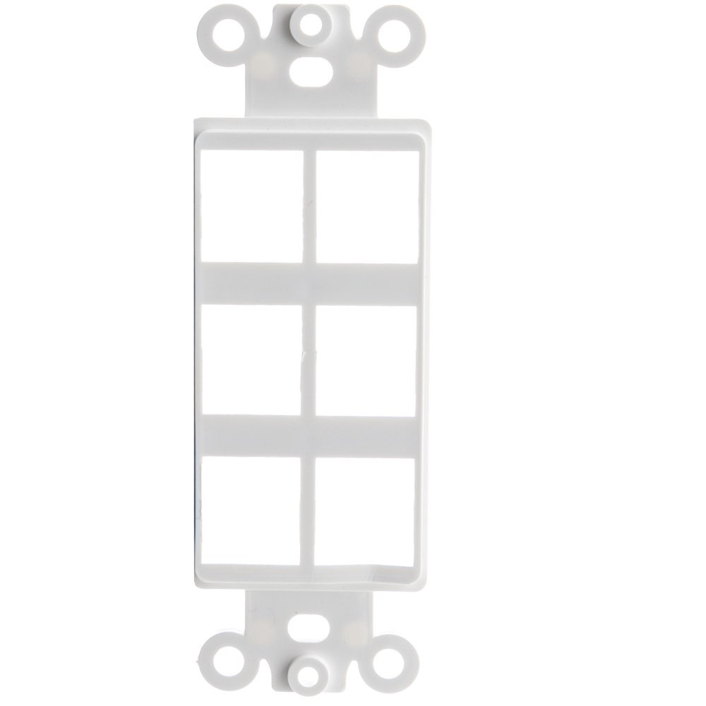 ACL Decora 6 Hole for Keystone Jack Wall Plate Insert, White, 100 Pack