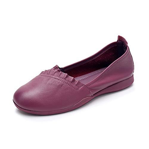 FLYRCX Zapatos Planos de Cuero de Las Mujeres Zapatos de Trabajo cómodos y Elegantes Zapatos de Trabajo Casual de Fondo Suave Zapatos de Las Mujeres Embarazadas purple