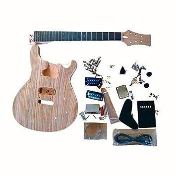 GDPR800B Caoba Cuerpo con Zerbrawood Chapa Top Guitarra Eléctrica DIY Kit Tornillo: Amazon.es: Instrumentos musicales