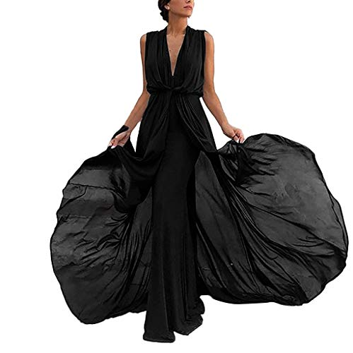 Keliay Bargain Women Sleeveless Vest Sexy Chiffon V Neck Everying Party Sheath Mermaid Dress