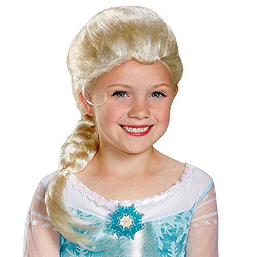 Elaco Synthetic Hair,Easy to Stereotypes, Not Easy Knot Material Cosplay Wig Frozen Doll Elsa Anna Snow Princess Snow Queen of Arendelle Series Anime Blonde Hair Girl -