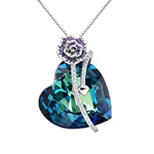 EleQueen 925 Sterling Silver CZ Heart of Ocean Titanic Inspired Bowknot Pendant Necklace Adorned with Swarovski® Crystals