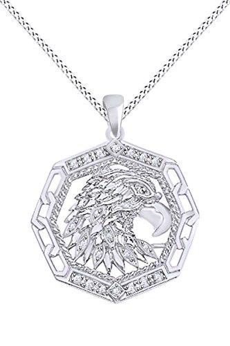 Round White Natural Diamond Accent Men's Eagle Pendant In 10k Solid White Gold (0.09 ()
