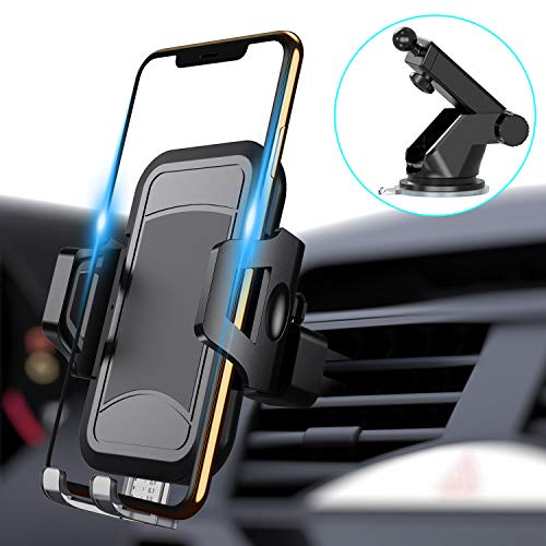 itaomi Universal Car Phone Mount Car Phone Holder for Dashboard Windshield Air Vent Adjustable Long Arm Strong Suction Cell Phone Car Mount Fit for iPhone X XS Max XR 8 Plus Samsung Galaxy S10 S9 (Universal Air Vent)