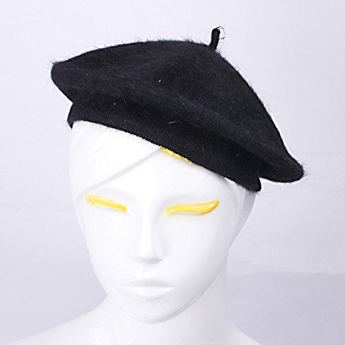 JTC Femmes Filles Béret Chapeau Souple Couleur Pure en Laine-Noir