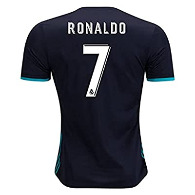 BlackDolphin Real Madrid Away Ronaldo #7 17/18 Soccer Jersey Men's Color Black Size M