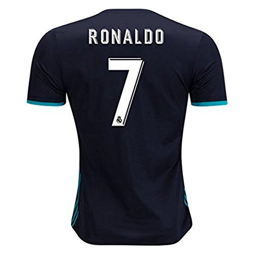 BlackDolphin Real Madrid Away Ronaldo #7 17/18 Soccer Jersey Men's Color Black Size M