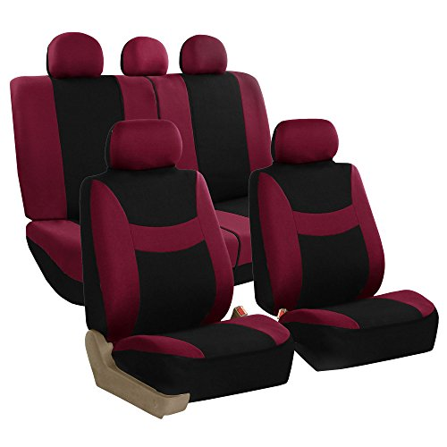 (FH Group FB030115-SEAT Light & Breezy Burgundy/Black Cloth Seat Cover Set Airbag & Split Ready- Fit Most Car, Truck, SUV, or Van)