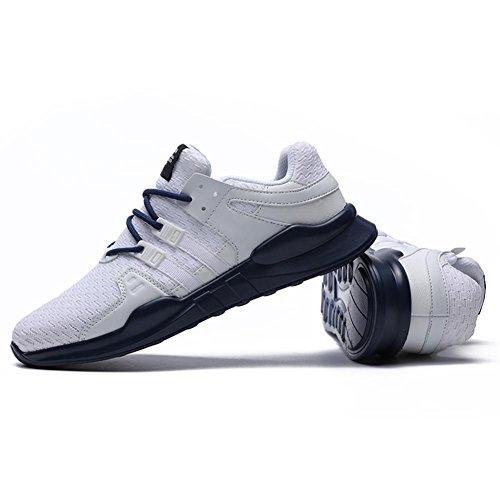 TUOKING Herren Atmungsaktive Mode Turnschuhe Durable Casual Sportschuhe Leichte Sportschuhe Lace Up Wanderschuhe Weiß Blau