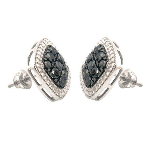 144767525 Brand New 1.35 Carat Genuine Black Diamond With Diamond Effect Screw Back  Earring, 10k White