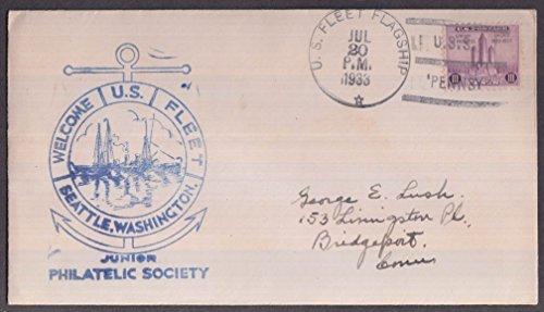 USS Pennsylvania BB-38 cancel Welcome Fleet to Seattle cachet envelope 1933 (Uss Pennsylvania Bb)