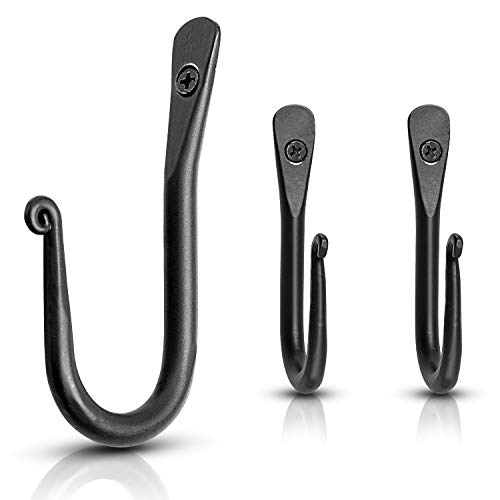 Marie Décor Blacksmith Handmade Simple Wall Mounted Wrought Iron Hooks - Set of 3 (Black) (Mounted Tools Fireplace)