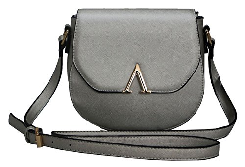 Kukubird Ursa Brushed Metallic Faux Leather With Metal V Detail Satchel Shoulder Tote Sling Handbag - (Ursa Metal)