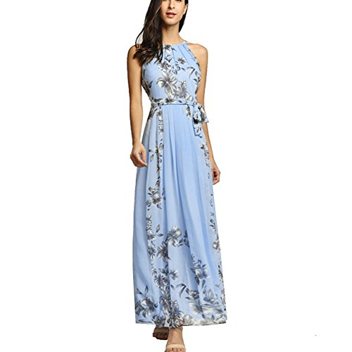 Afoxsos Women Floral Print Plus Size Maxi Dress Bohemia Halter Neck Chiffon Casual Dress