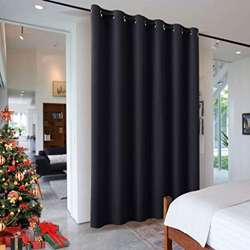 RYB HOME Privacy Modern Room Divider Panel Premium Contemporary Portable Silver Ring Top Room Divider Screen Partition for Office/Apartment, 8 Foot Tall x 10 Foot Wide, Black, 1 ()