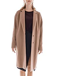 MUZA Women Wool Cocoon Trench Single Breasted Cashmere Coat Knee Length Oversize