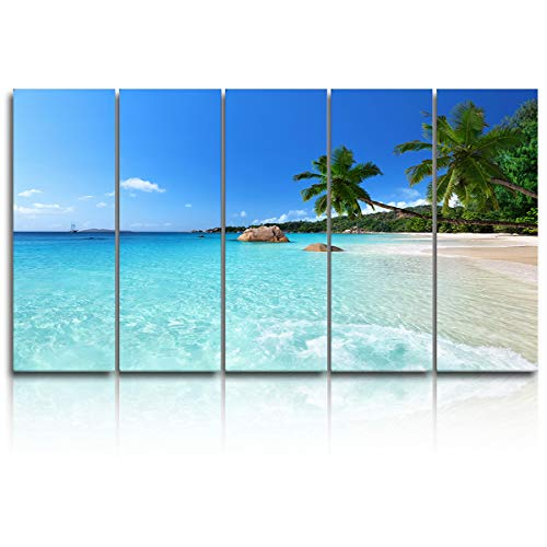 EZON-CH 5 Panels Canvas Wall Art Prints - Blue Sea Beach Coconut Tree Seascape - Extra Large Artwork Ready to Hang for Living Room Bedroom Office Home Decoration - 12x32 inchx5]()