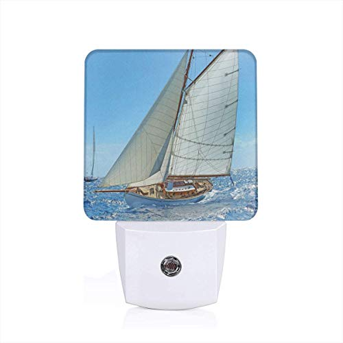 Colorful Plug in Night,Sailboat On The Sea Regatta Race Yacht and Windy Weather Competition Theme,Auto Sensor LED Dusk to Dawn Night Light Plug in Indoor for Childs Adults