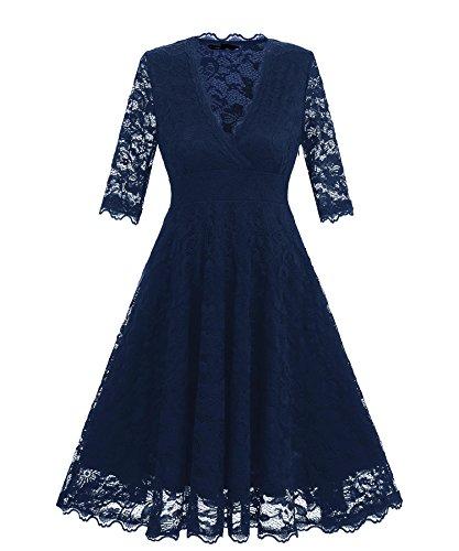 MILEEO Kleider 50s Damen Elegante Spitze Langarm Kleid Swing Abendkleid Party Hochzeit Navy