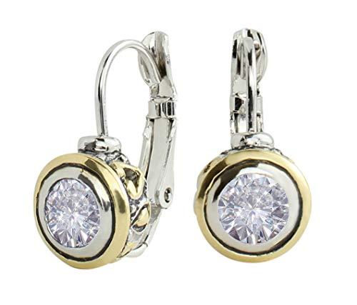 John Medeiros Two Tone 6MM Cubic-Zirconia Bezel Earring Set Handcrafted Made in America - Set Drop Bezel Earrings