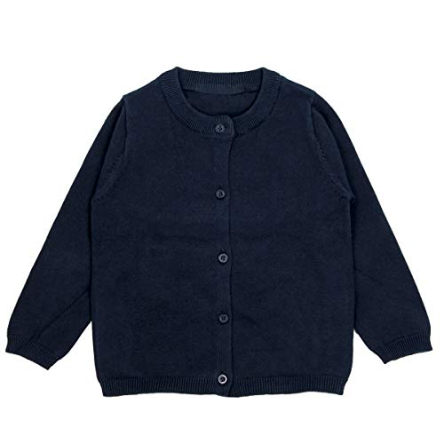 Baby Girl Knit Cardigan Sweater - Long Sleeve Button Down Cardigan 12-18 Months Navy Blue