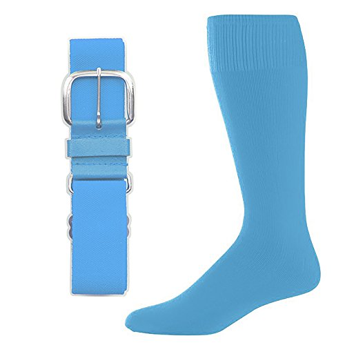 SteelLocker Baseball/Softball Belt & Sock Combo (Large (Men 9-12, Ladies 10-13), Columbia Blue)
