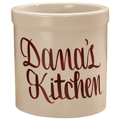 Personalized Stoneware Crock, 2-Quarts, Natural Finish, Customizable Utensil Holder Housewarming Gift, Burgundy by Miles Kimball