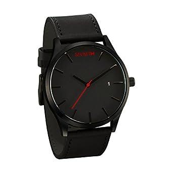 Mvmt relojes negro cara con negro correa de cuero de los hombres del reloj: Mvmt: Amazon.es: Amazon.es