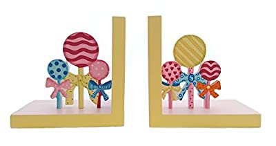 Childrens Painted Wooden Lollipop Bookends