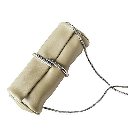 Para Mujer De Cuero Embrague Moda Color Sólido Metal Clips La Bolsa De La Cadena,MilkBrownColor-23*10.5*6cm