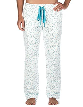 Womens Premium 100% Cotton Flannel Lounge Pants - Bird White - Small