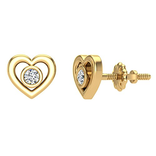 Diamond Earrings Heart Shape Studs 10K Yellow Gold - Bezel Setting Screw Back Posts (0.10 carat total)