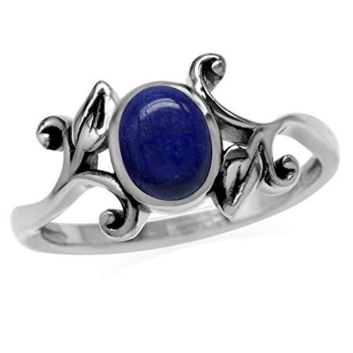 (8x6MM Genuine Oval Shape Blue Lapis 925 Sterling Silver Leaf Vintage Inspired Ring Size)