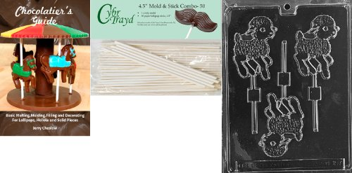 Cybrtrayd 45St50Bk-E157 'Lamb Lolly' Easter Chocolate Candy Mold with 50 4.5-Inch Lollipop Sticks and Chocolatier's Guide