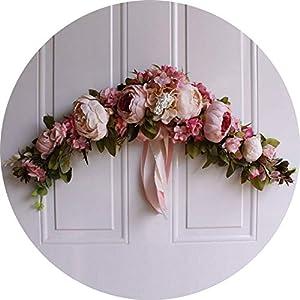 vibe-pleasure Rose Peony Artificial Flowers Garland European Lintel Wall Decorative Flower Door Wreath for Wedding Home Christmas Decoration 89