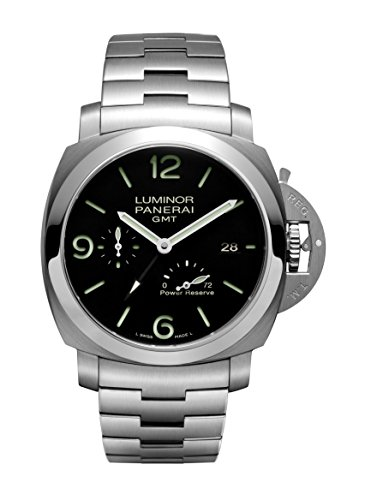 (Panerai Luminor 1950 3 Days Black Dial GMT Automatic Stainless Steel Mens Watch PAM00347)