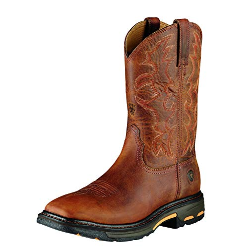 Leather Ariat Boots (ARIAT Men's Workhog Work Boot Toast Size 11 Ee/Wide Us)