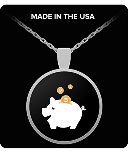 De Look Bitcoin Piggy Bank Funny Men Women Kids Cute Gift Necklace - Christmas Silver Round Coins