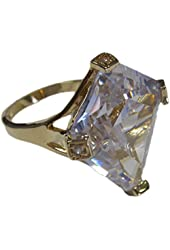 Special Clear Tetrahedron Cut CZ Gold Tone Fashion Ring