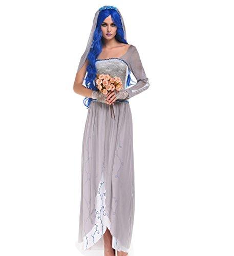 [Papaya Wear Women Halloween Costume Ghost Bride Spirit Costume Adult XL] (The Spirit Of Halloween Costumes)