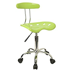 Flash Furniture Vibrant Apple Green and Chrome Computer Task Chair with Tractor Seat