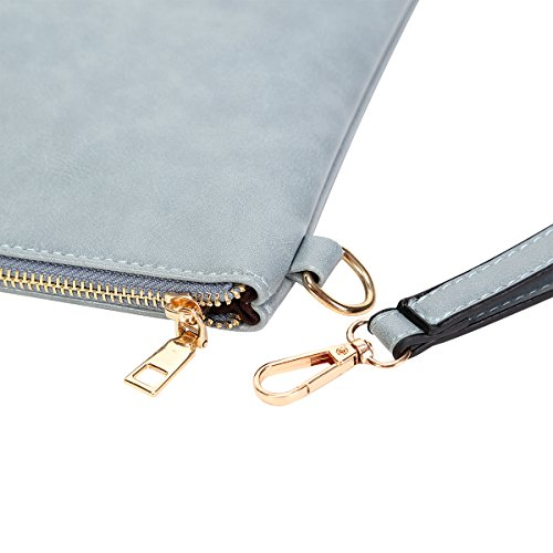 Women's PU Wristlet Wallet Purse Big Clutch Handbag with Zipper Ball Party Bag for Girl Grey by HOLYBIRD (Image #4)