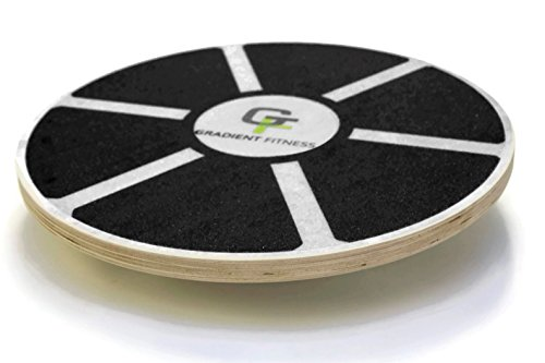 Gradient Fitness Balance Board, Wooden Wobble Board, Circular Non-slip Physical Therapy Exercise Tool (Black)