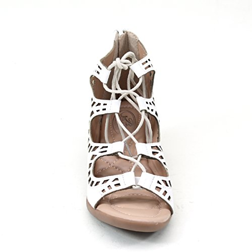 Toe Womens out Wedge Lace Back Brieten Low Zipper up White Comfort Open Cut New Sandals 1wqzZ4