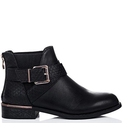 SPYLOVEBUY Cuero Tacón Boots Botines Negro Hebilla Mujer PORT Bloque Chelsea Sintético 1rw1B