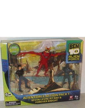 Ben 10 Alien Force 4 Inch Exclusive Action Figure 3-Pack Action Pack 1 (Kevin Levin, Jet Ray and Forever Knight) (Alien X Ben 10)