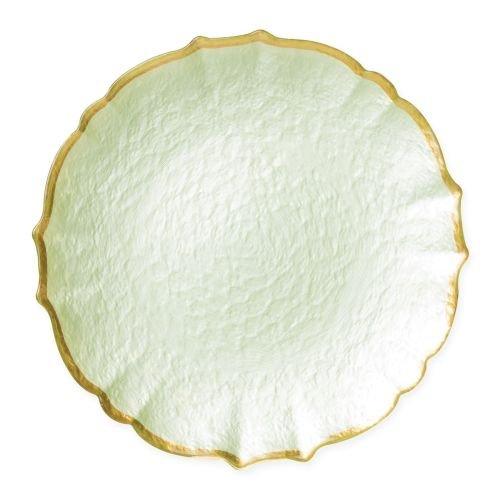 Vietri Baroque Glass Pistachio Service Plate/Charger - Premium Quality Gold Rimmed Tableware