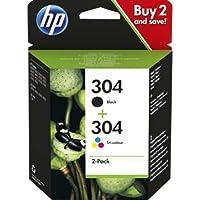 HP 304 Inktcartridge Zwart, Cyaan, Geel, Magenta, 3 kleuren en zwart 2-Pack (Standaard Capaciteit) (3JB05AE) origineel…